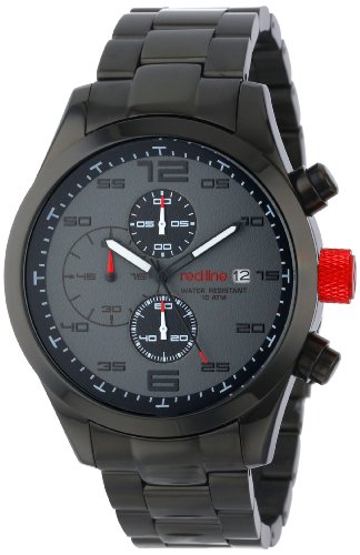 Red Line Stealth 50042-BB-11GY 47mm Black Steel Bracelet & Case Mineral Men's Watch