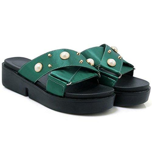 JOJONUNU Femmes Compensees Mules Sandales 24 Green