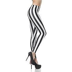 MAYUAN520 Polaina de moda Digital Sexy Slim negro rayas blancas Leggins Leggins Polainas mujeres impresa Mujer Pantalon,S