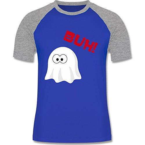 Shirtracer Halloween - Kleiner Geist Buh Süß - Herren Baseball Shirt Royalblau/Grau meliert