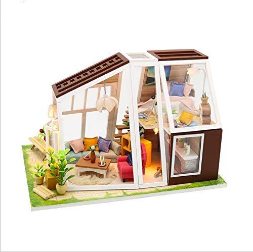 GUHUA Puppenhaus Miniatur Haus DIY House Modell, Puppenhaus Bausatz Holz Modell Set Creative Geburtstagsgeschenke für Mädchen Aurora Lodge