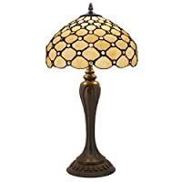 Stained Glass Lamp Cream Crystal Pearl Bead Tiffany Style Table Lamps Height 22 Inch Wide 12 Inch For Kids Room Living Room Bedroom Antique Desk Dresser Beside Coffee Table Bookcase S005 WERFACTORY