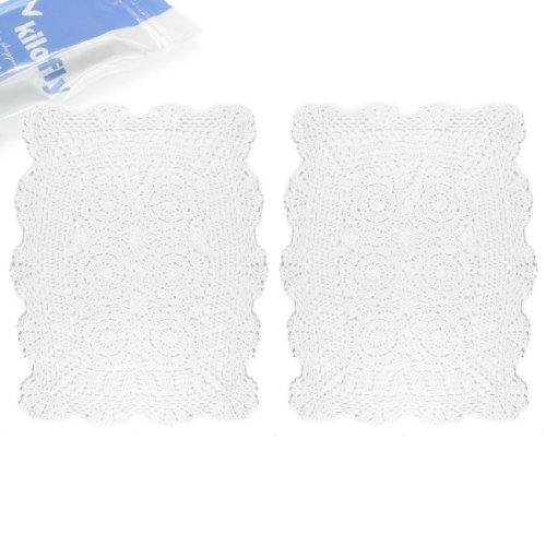 Häkelarbeit-Baumwollspitze Tischset Deckchen [Set von 2], Weiß ()
