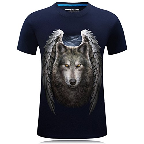 Men's Sword Dragon Wolf Chinese Printed Casual Tee Shirt Navy 5