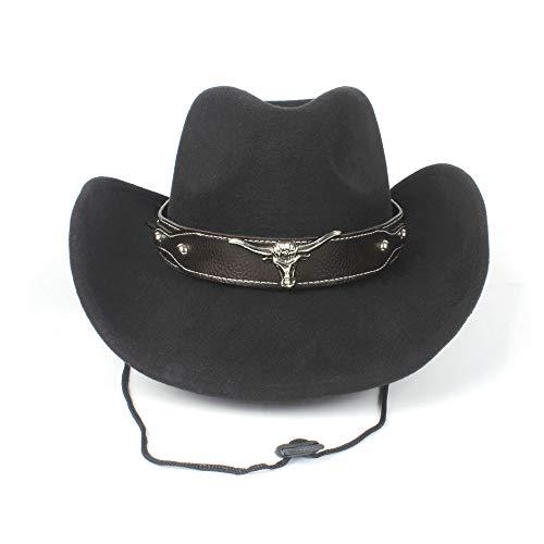 Wolle Kostüm Stier E - Frauen Männer Wolle Hollow Western Cowboy Hat Gentleman Krempe Sombrero Cap Mit Stier Band Hut (Farbe : Schwarz, Größe : 56-59cm)