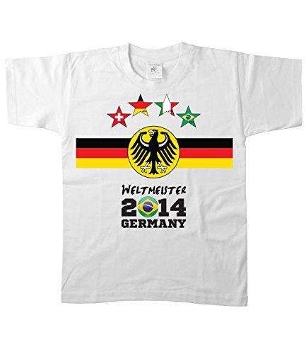 Artdiktat Kinder Deutschland Fan T-Shirt - Kids - 4 Sterne Fussball Weltmeister 2014 Germany - Trikot Ersatz - Wunschname und Nummer Größe 152/164, weiß (Fan-gag)