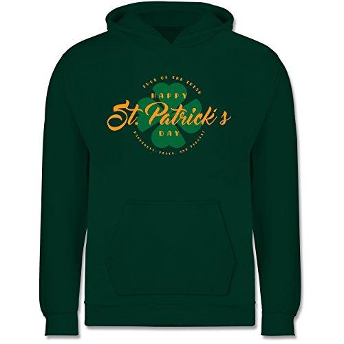 Anlässe Kind - St. Patricks Day Luck of the Irish - 9-11 Jahre (140) - Dunkelgrün - JH001K - Kinder Hoodie (Herren Irische Strickjacke)