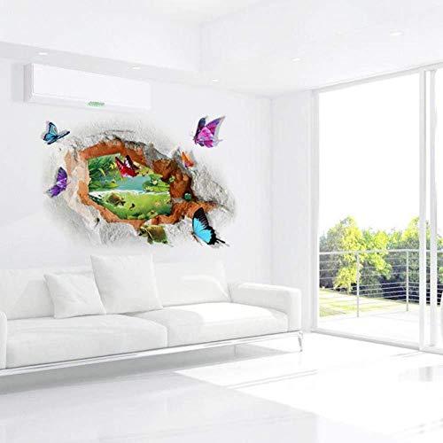 3D Lochansicht Schmetterling Wandaufkleber PVC Wandtattoos Teich Tapete Tür Vinyl Aufkleber für Wohnzimmer Schlafzimmer