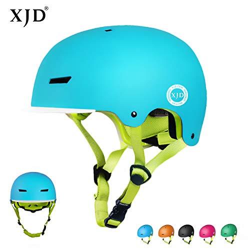 XJD Casco Bicicleta para Niños Ajustable con Certificación CE Resistencia al Impacto con Visera Extraíble para Ciclismo BMX Monopatín Patines sobre Rueda para niños de 3 a 8 años(Azul, S)