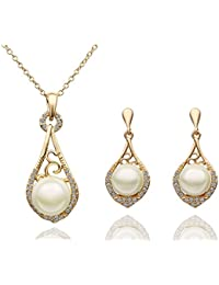 Silver Shoppee Angelic 18K Yellow Gold Plated Cubic Zirconia And Pearl Studded Alloy Pendant Set For Girls And...