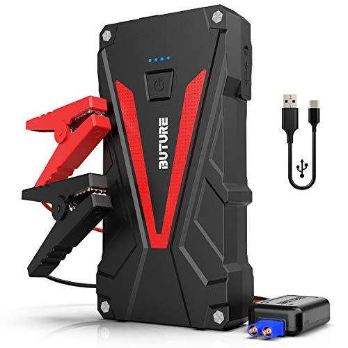 BuTure Avviatore di Emergenza, 800A 12800mAh Avviatore Batterie Portatile (motori fino a 6.0L Benzina/5.0L Diesel) Booster Pack con Cavo Smart Avviatore di Sicurezza, uscite USB QC3.0, Luci LED