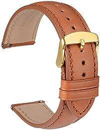 WOCCI 18mm Liberación Rápida Correa de Reloj de Cuero con Hebilla de Oro, Recambio Unisex (Marrón)
