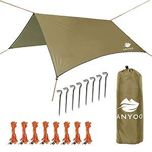 Anyoo Ente Ripstop avec Une bâche Hamac de Plage Tente et Parasol Pare-Soleil et d'insectes 3×3 m léger abri imperméable pour campement Randonnée