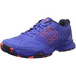 Wilson Kaos Comp W, Zapatillas de Tenis Mujer, Azul (Amparo Blue / Surf the Web / Fiery Cora), 39 EU