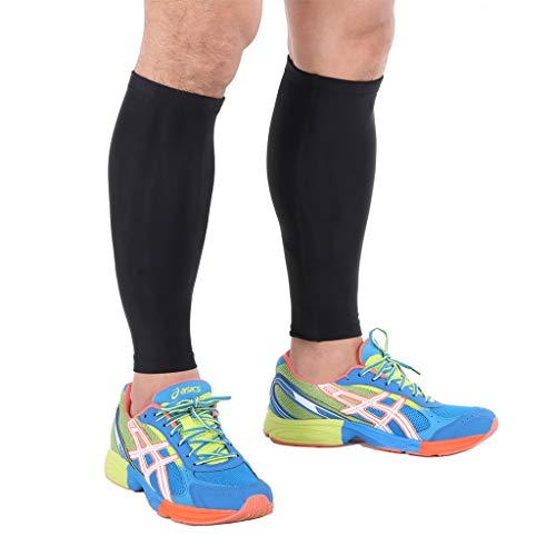 Cotill fasce di compressione per polpacci - Calf Guards/Sleeve Socks (PAIR) - For Sports Recovery, Work, Flight - Running, Cycling, Soccer, Rugby, Fitness, Gym, Golf, Tennis (Large)