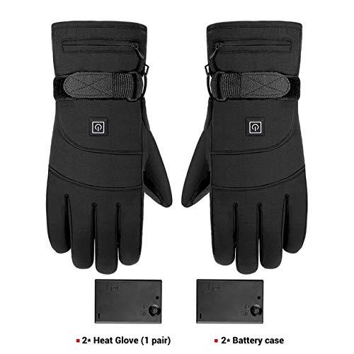 Dgtyui Guanti moto invernali guanti impermeabili da riscaldamento guanti da moto guanti con batteria da sci - A4