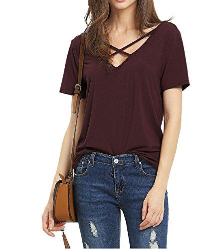 Shopping mit http://www.kalimno.de - Suimiki Damen Sommer Kurzarm T-Shirt V-A