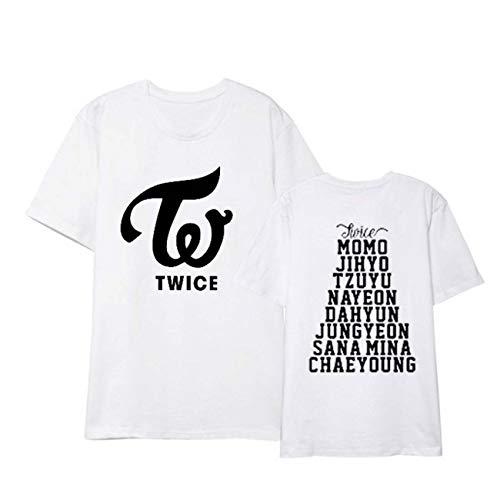 ZIGJOY Kpop Girl Group Twice T-Shirt Tee Sana Momo Mina for Fans White L