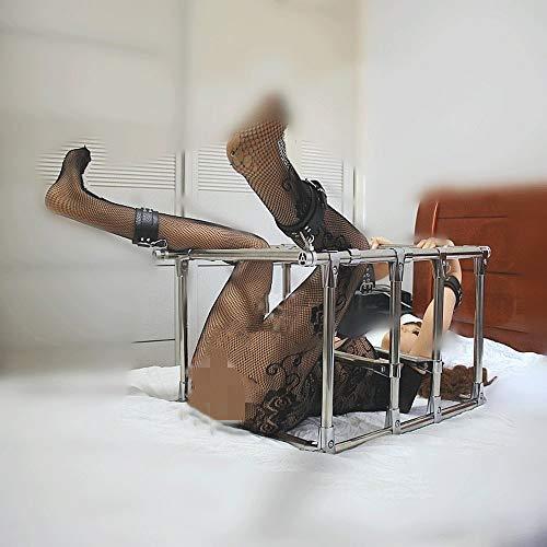 Spreizstange Sex Edelstahl, Ganzkörper Bondage Set System mit Leader Fußfesseln Handschellen/Handfesseln, BDSM Slave Fetisch Restraints Sexspielzeug für Paare, Abnehmbar