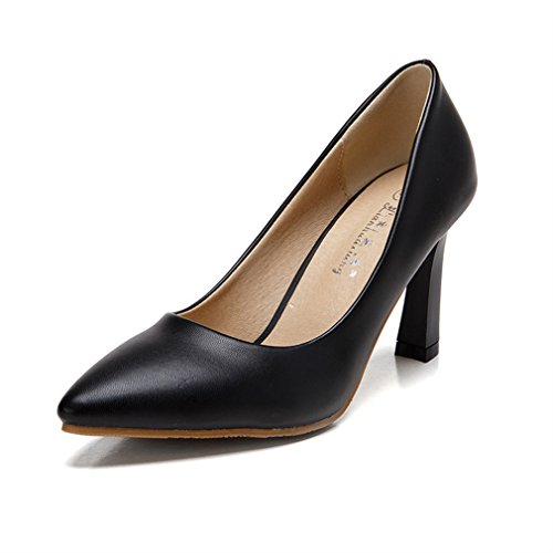 Xianshu Frauen Sexy Sommer Herbst Rau Heel Mid Heels Low Single Pointed Shoes Pumps(Black-38) (Court Shoe Leder Pointed)