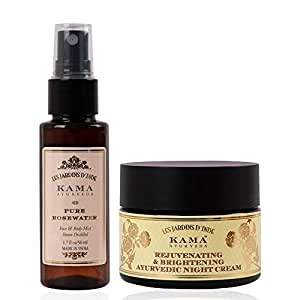 Kama Ayurveda Pure Rose Water 50 ml, Rejuvenating and Brightening Ayurvedic Night Cream 25gm