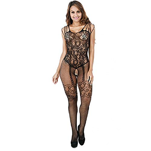 Damen Bodystocking URSING Body Stocking Hollow Out Erotische Unterwäsche Netz Strumpfhose Dessous Nachtwäsche Babydoll Nightwear Sleepwear Reizwäsche Perspektive Bodysuit Spitzenkleid (Schwarz)