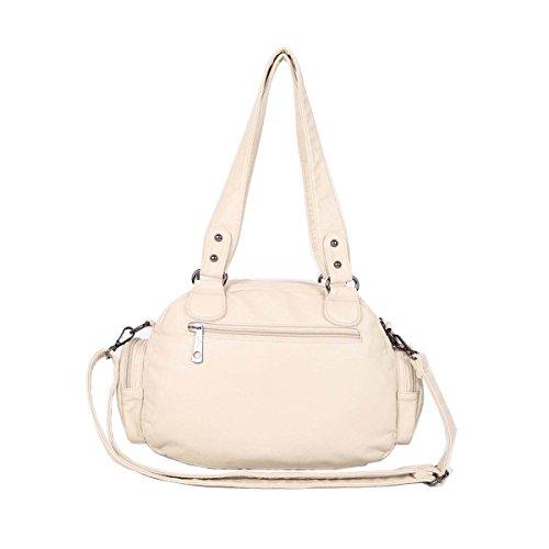 21K 2 chiusure con cerniera chiusura di borse multifunzione tasche borse in lana lavate borse a tracolla AK18579 (Cachi) Beige