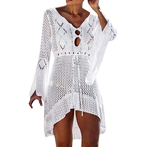 Damen Strandkleid Elegant Crochet Stricken Bikini Cover Up Boho Strandponcho Sommerkleid Bikini Beach Bademode Sonnencreme Bluse Badeanzug Bandage Häkeln Hochwertige Kittel (One Size, Weiß)
