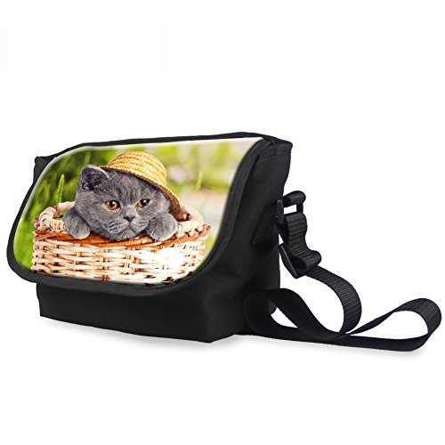 WHCREAT Männer niedliche Katze Posterdrucke Leinwand im Freien Reise Crossbody Student Bag Katze 6