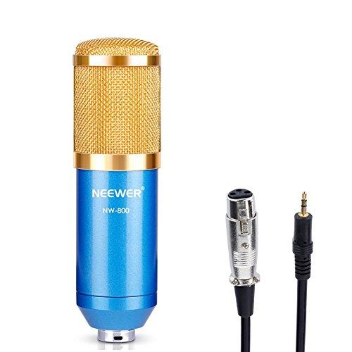Neewer® nw-800professionale studio Radiotelevisivo & registrazione microfono a condensatore set include: (1) nw-800microfono a condensatore + (1) tappo di schiuma a sfera anti-vento + (1) microfono cavo di alimentazione (blu)