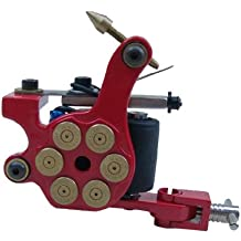 Panegy - Máquina Pistola de Tatuaje Tatuar - Tattoo Machine 8 Bobinas líneas - Rojo y oro