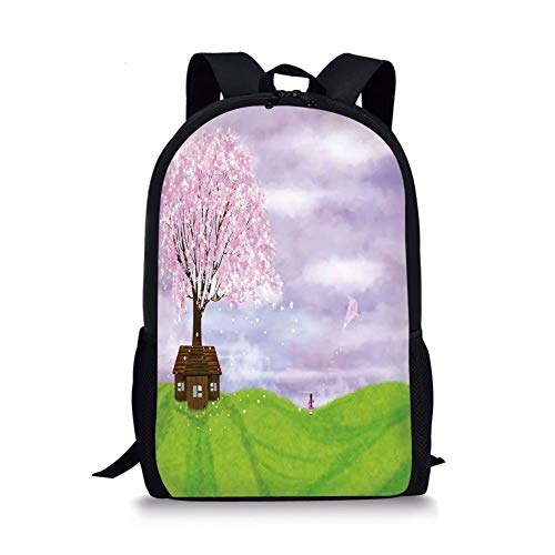 School Bags Nature,Single House by Blooming Spring Tree and Little Girl with Kite Idyllic Picture,Lime Green Lilac for Boys&Girls Mens Sport Daypack -