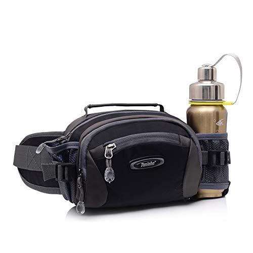 Bauchtasche Hüfttasche Lauftasche Laufgürtel Laufgürtel Wasserabweisend mit Flaschenhalter für Wandern Camping Hund Walking, Schwarz