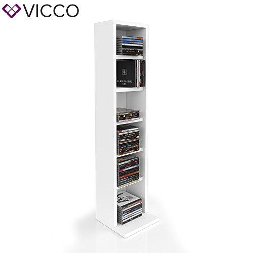 VICCO CD Regal DVD Ständer Rack Wandregal Hängeregal Bücherregal Büroregal Bücherregal Farbauswahl (1er, Weiß)