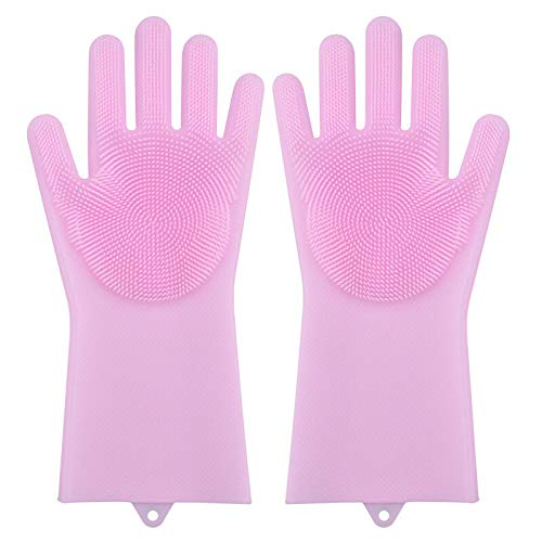 DE-cleaning tools 2er Pack Magic Silikon Geschirrhandschuhe Abstauben Geschirr Waschen Pet Care Grooming Hair Auto Insulated Washing Kitchen Helper Light pink