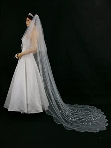 2T 2 Tier Scallop Edge Motifs Bridal Wedding Veil - White Cathedral Length 108 V167 by Venus Jewelry