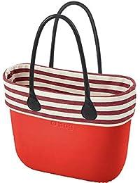 0899b56e39 OBAG Borsa o bag grande rosso sacca interna, bordo righe strette beige rosso  manico lungo
