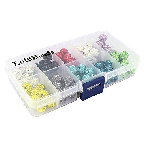 Lollibeads (TM) Mix Beaucoup de qualité supérieure Cristal pavé de strass Argile Spacer Perles de boule, 10mm Mix color 1