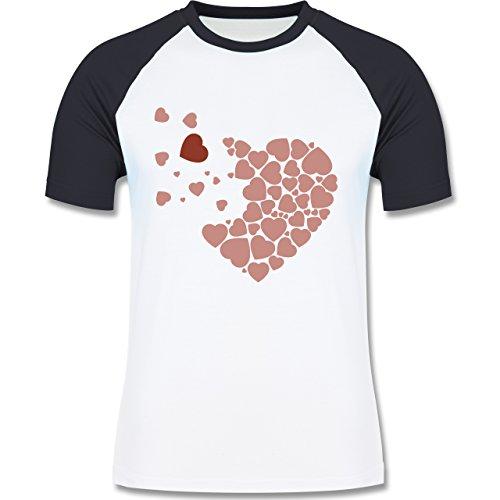 Romantisch - Herz Herzchen - zweifarbiges Baseballshirt für Männer  Weiß/Navy Blau