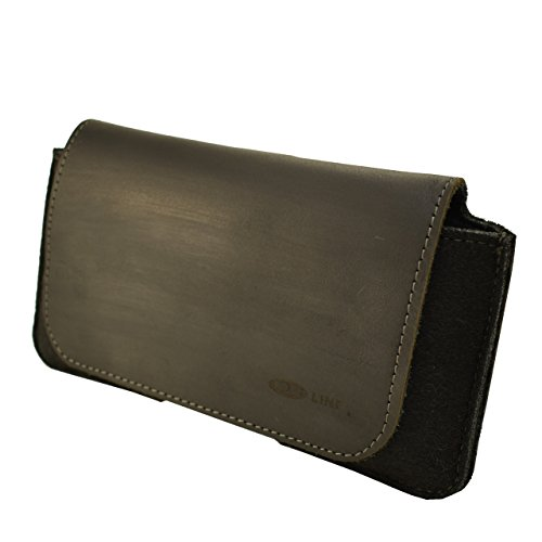 OrLine Holster Echt Leder-Schutzhülle Apple Iphone 6 PLUS 5,5 Zoll Lederetui Hülle Handytasche Leder Case Cover mit Magnetverschluss Halterung an Gürtelschlaufe in der Farbe schwarz Handarbeit. Schwarz