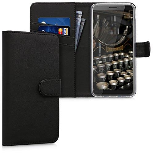 kwmobile HTC Desire 12 Hülle - Kunstleder Wallet Case für HTC Desire 12 mit Kartenfächern & Stand - Schwarz
