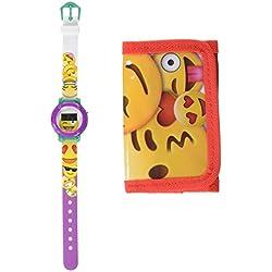 Factory 1030658 Set Reloj Digital y Billetera, diseño Emoji