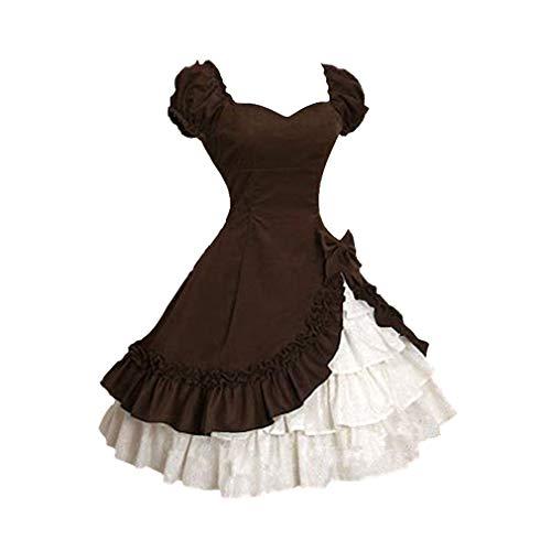 che Renaissance Kleid der Frauen Prinzessin Lolita Stil Kleid Kleid Spitze Cosplay Hauchhülse Gericht Kurzarm Kleid Kostüm ()