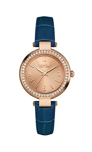 Caravelle New York 44L178 - Reloj de Pulsera para Mujer, Cuarzo, Correa de Piel Azul, Color Oro Rosa, Esfera analógica