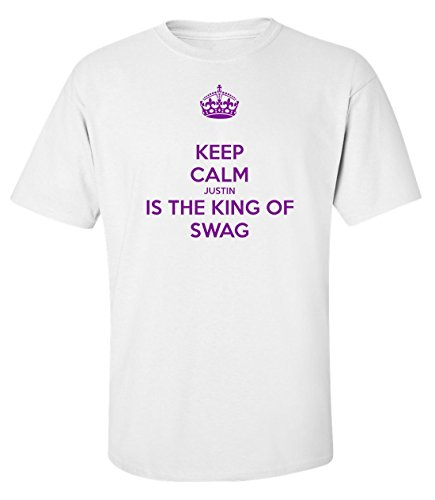 Keep calm Justin is the king of swag drôle t-shirt homme blanc (XL )