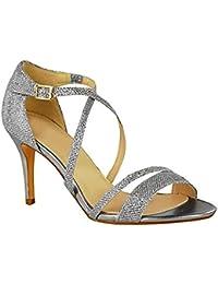 728b65528fd75 Fashion Thirsty Sandales Avec Lanières Petit Talon - à Strass - Soirée -  Femme