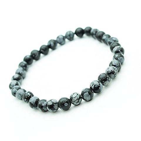Bracelet Obsidienne neige en pierre semi-précieuse perles de 6 mm.