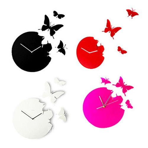 Inspirierend Schmetterlings-Aufkleber Hauptdekorationen DIY Zimmer Analoge Wanduhr Red