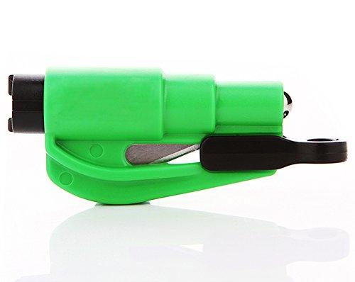 Happy Fd 2 in 1 im Freien Auto Flucht Notüberlebens Sicherheits-Hammer Schlüsselanhänger Werkzeug Gurtschneider Auto Fenster Unterbrecher mit 2 Packung (Grün)