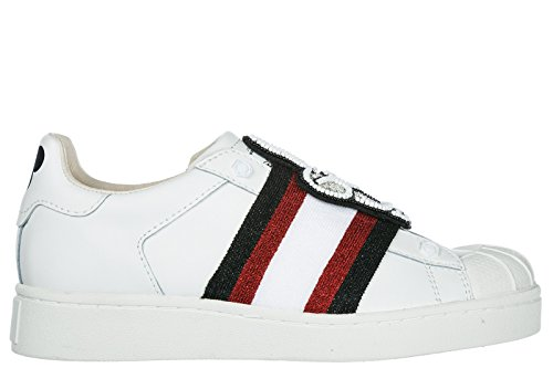 MOA Master of Arts Chaussures Baskets Sneakers Femme en Cuir Mickey Patch Blanc
